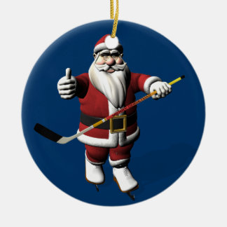 Sweet Santa Claus Loves Ice Hockey Ceramic Ornament