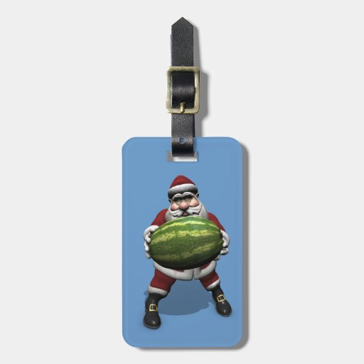 Sweet Santa Claus Loves Watermelons Luggage Tag
