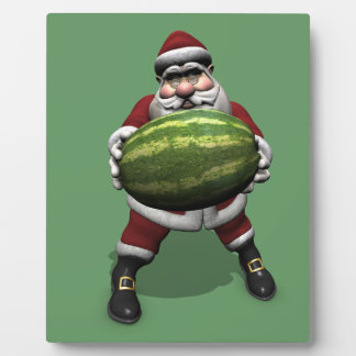Sweet Santa Claus Loves Watermelons Plaque