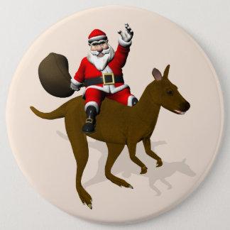 Sweet Santa Claus Riding On Kangaroo Pinback Button