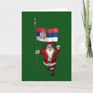Sweet Santa Claus Visits Serbia Holiday Card