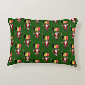 Sweet Santa Claus With Ensign Of Belgium Accent Pillow