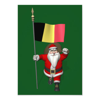 Sweet Santa Claus With Ensign Of Belgium Card