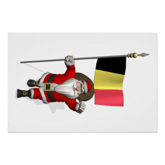 Sweet Santa Claus With Ensign Of Belgium Poster