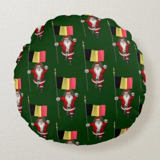 Sweet Santa Claus With Ensign Of Belgium Round Pillow