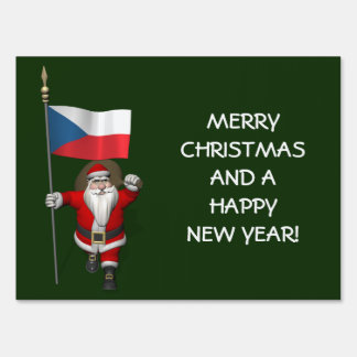 Sweet Santa Claus With Ensign Of Czech Republic Lawn Signs