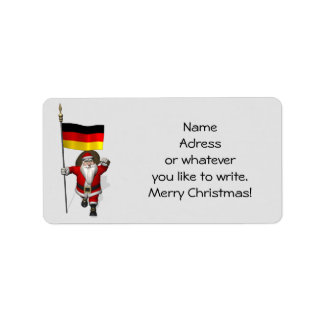 Sweet Santa Claus With Ensign Of Germany Custom Address Labels