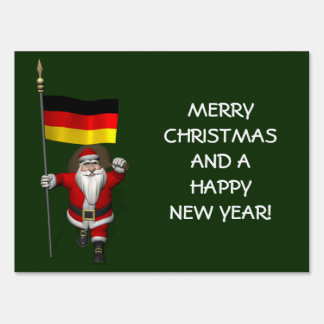 Sweet Santa Claus With Ensign Of Germany Lawn Signs