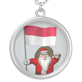 Sweet Santa Claus With Ensign Of Indonesia Silver Plated Necklace