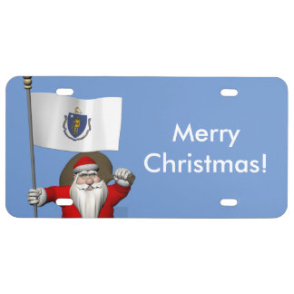 Sweet Santa Claus With Ensign Of Massachusetts License Plate