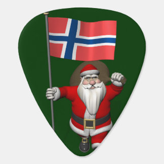 Sweet Santa Claus With Ensign Of Norway Guitar Pick