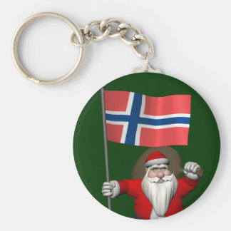 Sweet Santa Claus With Ensign Of Norway Keychain