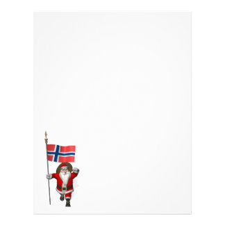 Sweet Santa Claus With Ensign Of Norway Letterhead