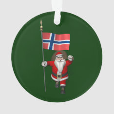 Sweet Santa Claus With Ensign Of Norway Ornament at Zazzle