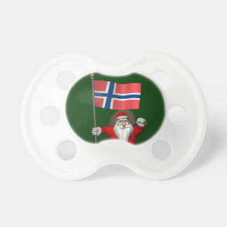 Sweet Santa Claus With Ensign Of Norway Pacifier