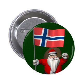 Sweet Santa Claus With Ensign Of Norway Pinback Button