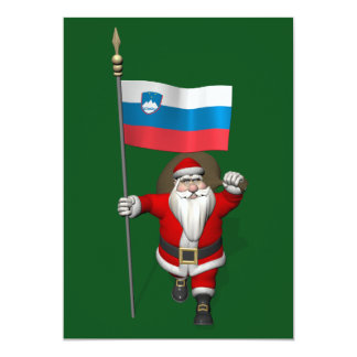 Sweet Santa Claus With Ensign Of Slovenia Card