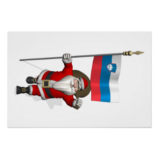 Sweet Santa Claus With Ensign Of Slovenia Poster