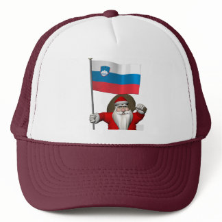 Sweet Santa Claus With Ensign Of Slovenia Trucker Hat