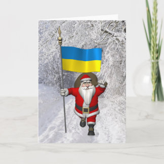 Sweet Santa Claus With Ensign Of The Ukraine Holiday Card