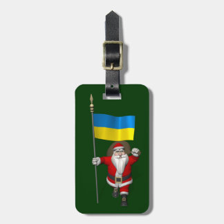 Sweet Santa Claus With Ensign Of The Ukraine Luggage Tag