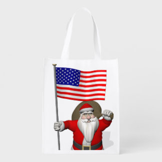 Sweet Santa Claus With Ensign Of The USA Grocery Bag