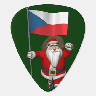 Sweet Santa Claus With Flag Of Czech Republic Guitar Pick