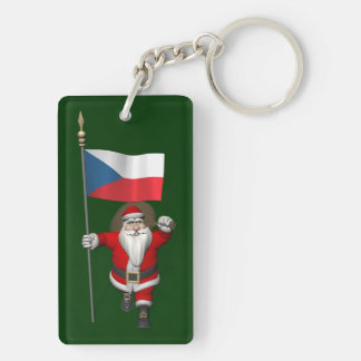 Sweet Santa Claus With Flag Of Czech Republic Keychain