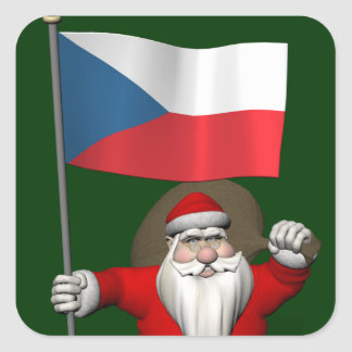 Sweet Santa Claus With Flag Of Czech Republic Square Sticker