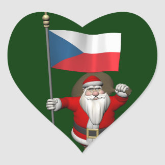 Sweet Santa Claus With Flag Of Czech Republic Stickers