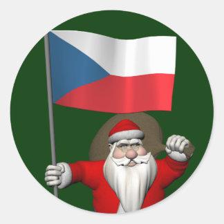 Sweet Santa Claus With Flag Of Czech Republic Sticker