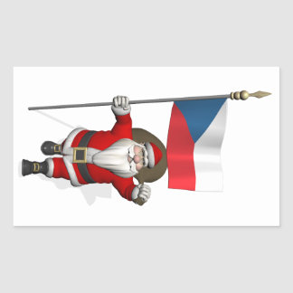 Sweet Santa Claus With Flag Of Czech Republic Rectangle Stickers