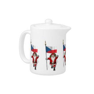 Sweet Santa Claus With Flag Of Czech Republic Teapot