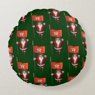 Sweet Santa Claus With Flag Of Hong Kong Round Pillow