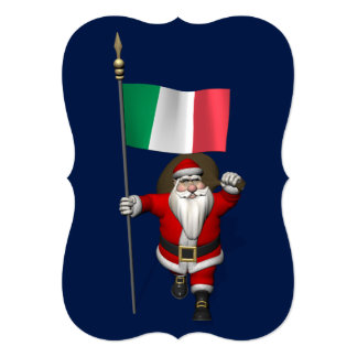 Sweet Santa Claus With Flag Of Italy Card
