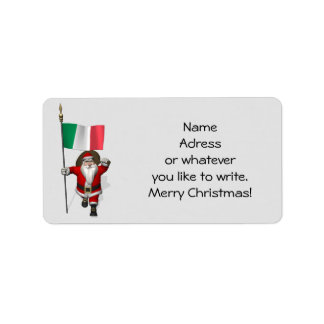 Sweet Santa Claus With Flag Of Italy Label