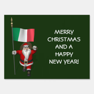 Sweet Santa Claus With Flag Of Italy Lawn Sign