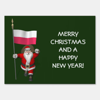 Sweet Santa Claus With Flag Of Poland Sign