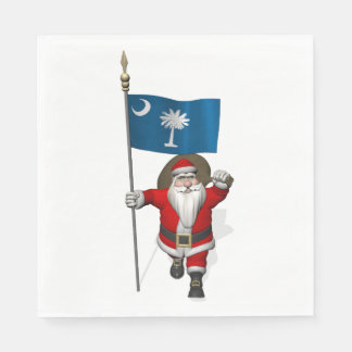 Sweet Santa Claus With Flag Of South Carolina Paper Napkin