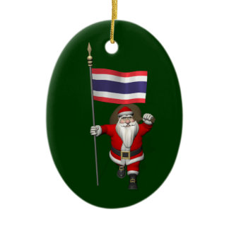 Sweet Santa Claus With Flag Of Thailand Ceramic Ornament