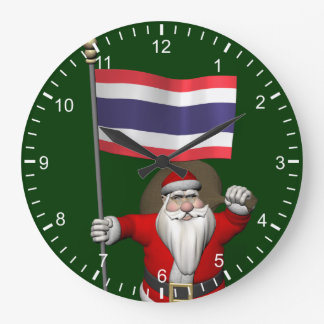 Sweet Santa Claus With Flag Of Thailand Large Clock