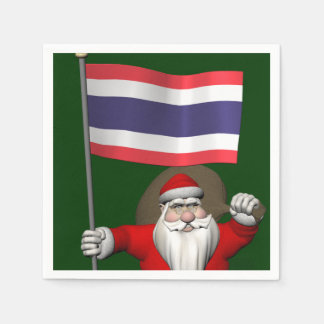 Sweet Santa Claus With Flag Of Thailand Napkin