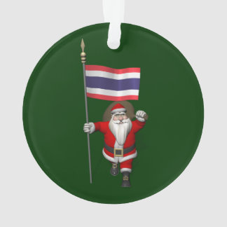 Sweet Santa Claus With Flag Of Thailand Ornament