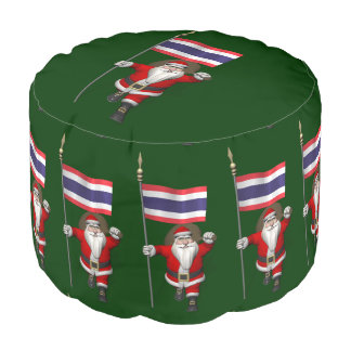Sweet Santa Claus With Flag Of Thailand Pouf