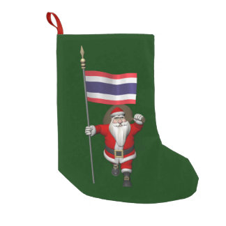 Sweet Santa Claus With Flag Of Thailand Small Christmas Stocking