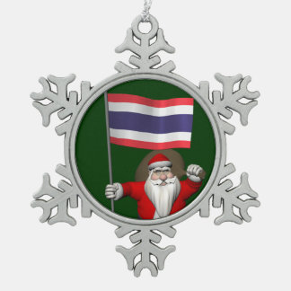 Sweet Santa Claus With Flag Of Thailand Snowflake Pewter Christmas Ornament