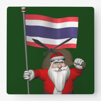 Sweet Santa Claus With Flag Of Thailand Square Wall Clock