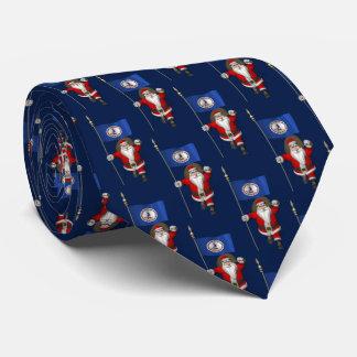Sweet Santa Claus With Flag Of Virginia Tie