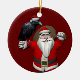 Sweet Santa Claus With Huge Raven Christmas Tree Ornaments