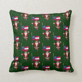 Sweet Santa With Flag Of Georgia Throw Pillow